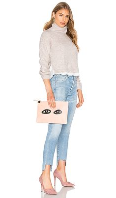 Shop for Clare V. Flat Supreme Clutch in Blush   Black at REVOLVE. Free 2-3  day shipping and returns, 30 day price match guarantee. 8e498a6124c0