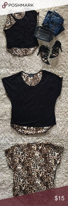Black Sheer Blouse With Leopard Back NWOT Size L. Black front/leopard back sheer blouse. Never worn out, only tried on. Super cute, does not fit me anymore. No stains, or snags. Tops Blouses