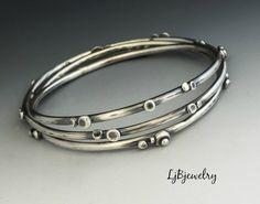 Silver Bangle Stacking Bangle Sterling Silver Bangle by LjBjewelry