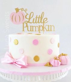 Little Pumpkin Glitter Cake Topper Little Pumpkin First
