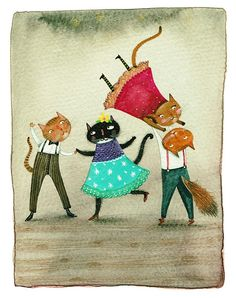 Thing 1, Cat Room, Watercolor Cat, Cellophane Bags, Fine Art Paper, Giclee Print, Original Artwork, Rooster, Whimsical