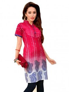 Red And White Cotton Printed Kurti