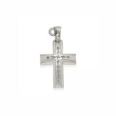 Ένας κλασσικός σταυρός γυναικείος ή βαπτιστικός του οίκου ΤΡΙΑΝΤΟΣ από λευκόχρυσο Κ14 γυαλιστερό με ματ πλαίσιο και ζιργκόν στο εσωτερικό #τριαντος #γυναικειος #βαφτιση #λευκοχρυσο #σταυρος