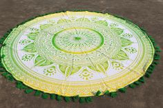 Yellow Green Roundie with Ribbon Tassel