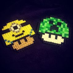 Mushrooms (Minion and Creeper)  perler beads by mommajessicadavenport