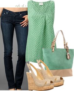 """""""Green and Beige"""" by styleofe on Polyvore"""