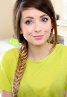 Zoella Straight Medium Brown Bun, Ombré Hairstyle | Steal Her Style