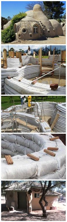 Earthbag Homes billig und einfach zu bauen! Earthbag Homes cheap and easy to build! Future House, My House, Earthship Home, Earthship Design, Earth Bag Homes, Underground Homes, Natural Homes, Unusual Homes, Natural Building