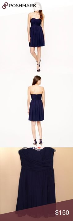 J Crew Arabelle dress in silk chiffon in Navy Like New Condition. Worn only once for a couple hours. Make me an offer. J. Crew Dresses Strapless