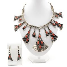 Native American Navajo Necklace Earring Set, Sterling Silver, Coral Wil Vandever