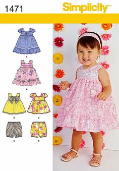 Baby Dress Pattern, Toddlers' Dress Pattern, Infant Dress Pattern, Sz Nb to 18mo,  Simplicity Sewing Pattern 1471