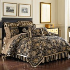 Bed, Bath, & Beyond -- J Queen Alicante comforter set in black/taupe/cream