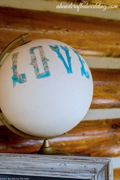 This DIY Pretty Painted Globe is the perfect DIY wedding decoration for the couple that loves to travel. Experiment with different words or phrases you'd like your painted globe to feature. Wedding Guest Table, Wedding Guest Looks, Guest Book Table, Guest Books, Wedding Book, Wedding Ideas, Wedding Details, Wedding Inspiration, Wedding Signs