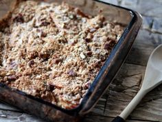 Lightened up Maple Apple Crisp with a crunchy pecan oat topping!