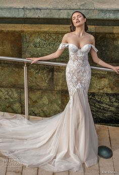 riki dalal 2018 noya bridal off the shoulder sweetheart neckline heavily embellished bodice elegant mermaid wedding dress chapel train (2) mv