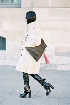 Yoyo Cao of Yoyokulala, before Louis Vuitton, Paris, October 2016. Recreate YoYo's look (kind of): Lace-up boots with lug sole - Prada lace up ankle boots, Alaia lace-up leather platform ankle boots,