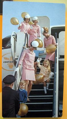 Continental ~ Pink Uniforms. Love the hats and gloves they used to wear. That was when flying was an adventure and a luxury. Remember the meals and the wine, that was service.