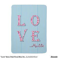 """Love"" Retro Pink Floral Blue Stripes Baby Blanket"