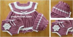 Adorable Crocheted Baby Dress Set [FREE Crochet Pattern]