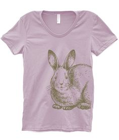Fashion Gift For Her : Women's T-Shirt - Rabbit  - Printed On Womens TShirt - Gift for Mom or Her - 5 Color Choices. $18.00, via Etsy.