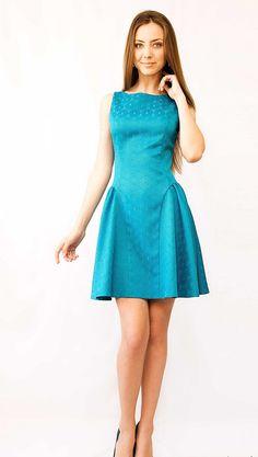 Turquoise Cocktail Dress Short Flared by StylishLadiesShop on Etsy