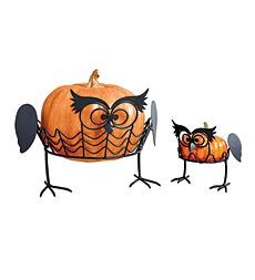 Here's a wise way to decorate your Halloween pumpkins! These exclusive Owl Pumpkin Holders make Halloween decorating a snap. They're a real hoot, from their expressive faces to their wings and feet.