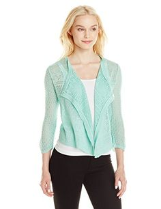 Leo  Nicole Womens Missy 34 Sleeve Drape Cardigan Neptune Green Large >>> Be sure to check out this awesome product.