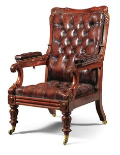 A William IV carved mahogany and leather upholstered reclining armchair circa 1835 each padded arm with a release bolt to the underside enabling adjustment
