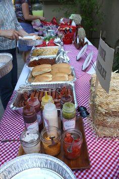 Hot Dog Bar; I like this idea for our hopeful housewarming party!