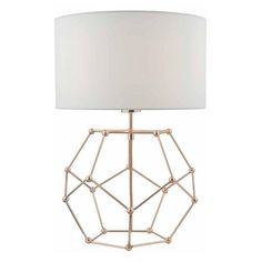 Coen Table Lamp In Copper With White Cotton Shade (850 CNY) ❤ liked on Polyvore featuring home, lighting, table lamps, geometric lamp, copper lights, copper table lamp, geometric lighting and geometric table lamp #GeometricLamp