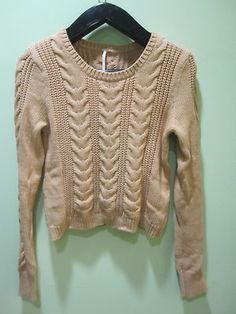 New Free People Cabletown Pullover in Evening Sand Size Large