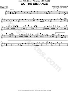 Sheet Music HERCULES I CAN GO THE DISTANCE DISNEY FLUTE SHEET MUSIC
