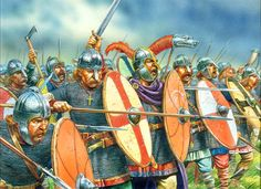 Saxon Thegns who were minor nobles of Saxon England who held land in return for military service. They were expected to muster with sword, spear, shield, mail coat, helmet and horse. The mounts were used only for transport. Thegns nearly always fought on foot in shieldwall formation.