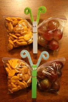 Butterfly snacks.  Kids can decorate the pins which will help them eat it!