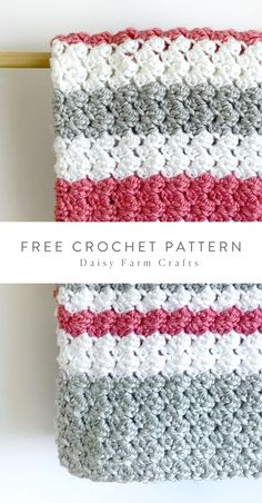 Free Crochet Pattern Sedge Stripes Baby Blanket In Red Heart * kostenlose häkelanleitung segge streifen babydecke im roten herzen * couverture de bébé à rayures au motif de crochet au coeur rouge Crochet Afghans, Crochet Motifs, Crochet Blanket Patterns, Baby Blanket Crochet, Crochet Stitches, Knitting Patterns, Knit Crochet, Crochet Blankets, Booties Crochet