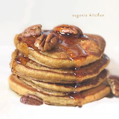Fluffy Pumpkin Pancakes - Eggless Fall Recipe - Eugenie Kitchen~~~~Oh My Goodness!! Pumpkin Pancakes, I can't think of anything better for Fall.