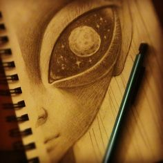 Alien eye with galaxy inside Alien Drawings, Tumblr Drawings, Cute Drawings, Arte Alien, Alien Art, Alien Tumblr, Ufo, Painting & Drawing, Alien Painting