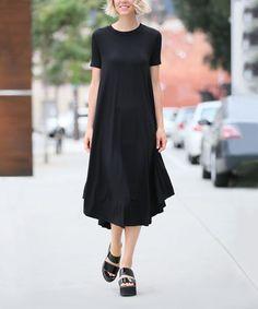 42POPS Black Short-Sleeve Dress | zulily