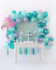 Mermaid birthday party DIY ideas. Dessert table. Who doesn't love mermaids?! This is genius! So perfect for kids birthday parties! Under the sea and the little mermaid as a party is awesome! So many DIY ideas that are easy and cheap. Which is even better since we done want to break our budgets throwing a mermaid party. I like the food, dessert, decorating, activity ideas! Love it saving it for later! #diypartyeasy #cheapdiy
