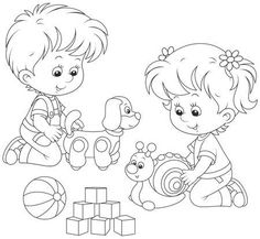 Illustration of Kids playing vector art, clipart and stock vectors. Coloring Pages Winter, Disney Coloring Pages, Colouring Pages, Coloring Books, Drawing School, Drawing For Kids, Free Vector Illustration, Free Vector Art, Library Drawing