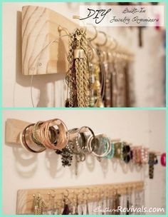 Wall Jewelry Organizer--my hubby could make this for me...so easy!