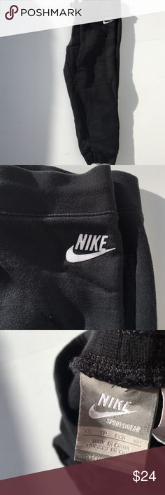 """Nike Black Capri Joggers > Comfy Nike simple black cotton sweat joggers. Capri length. Drawstring at the waist, Nike logo on high left thigh. Wear for a casual day in or a complex workout. Adjustable waist, Inseam-20 ½"""", rise-7 1/2"""". Offers warmly received. Nike Pants Track Pants & Joggers"""
