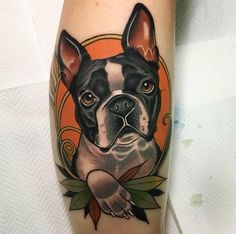 - Neo Traditional Dog Tattoo by Andre. – Neo Traditional Dog Tattoo by Andre. Limited availability at Salva - Boston Terrier Tattoo, Boston Terrier Dog, Boston Tattoo, Pitbull Tattoo, Dog Tattoos, Animal Tattoos, Traditional Tattoo Dog, Traditional Tattoo Portrait, Tattoo Studio