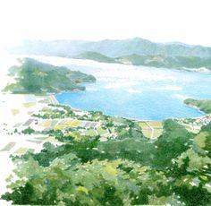 laostudio: DANNY ILLUSTRATION_COCOMIDORI Landscape Drawings, Cool Landscapes, Watercolor Landscape, Landscape Paintings, Graphic Design Illustration, Illustration Art, Relaxing Art, Mountain Paintings, Aesthetic Drawing