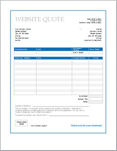 free online quote template