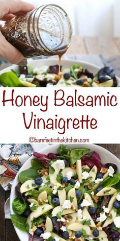 Honey Balsamic Vinaigrette is sweet and tangy and while it is delicious on almost any salad, it pairs especially well with salads that contain fruit. I made it the first time to serve with the Blueberry Apple Walnut Salad that I'll be sharing on Thursday, Balsamic Vinaigrette Recipe, Salad With Balsamic Dressing, Salad Dressing Recipes, Balsamic Vinegarette, Dressing For Spinach Salad, Vinagrette Dressing Recipe, Salad Dressing Homemade, Salad Dressing Healthy, Mediterranean Salad Dressing