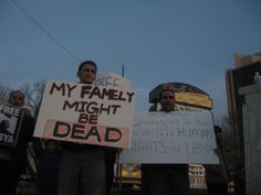 """My family might be dead"" ""Speaking out for those that can't. Human Rights for Libya!""(Photo: Eli Bell)"