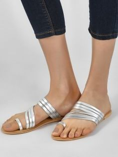 3c5d87a110bb KOOVS Metallic Multi-Strap Flat Sandals