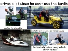 3rd doctor. Jon Pertwee loved driving around in the different vehicles, and his final episode was mostly chase scenes!