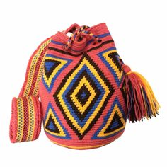 $52.00 Retail Price SMALL Single Thread Colombia Wayuu Mochila Bag   RETAIL + WHOLESALE   Handmade and Fair Trade Wayuu Mochila Bags LOMBIA & CO.   www.LombiaAndCo.com Tapestry Bag, Tapestry Crochet, Knit Crochet, Retail Price, Fair Trade, Vivid Colors, Bucket Bag, Knitting, Pattern